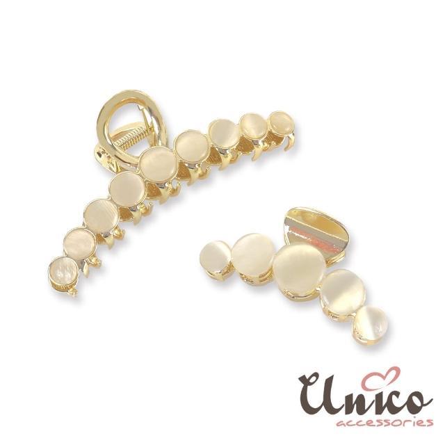 【UNICO】韓國同步流行貓眼石氣質香檳金髮夾/鯊魚夾(髮飾/配件/貓眼石/香檳金)