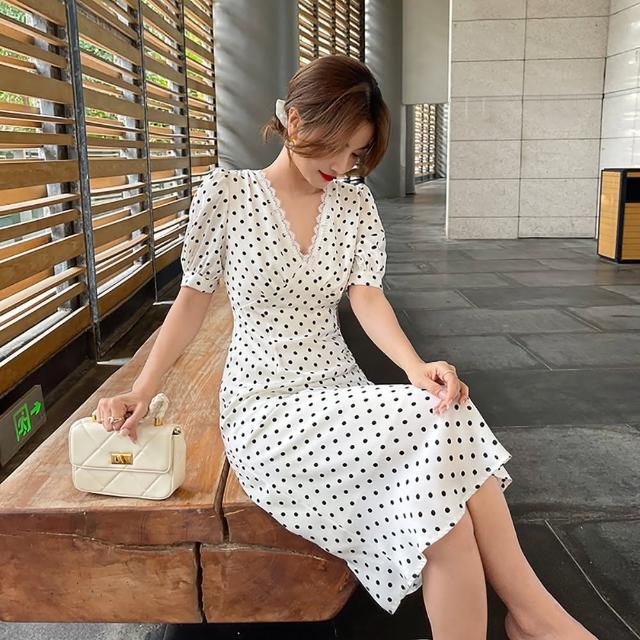 【女神婚紗禮服店】法式復古白底圓點雪紡短袖洋裝 提貨券(雪紡洋裝 V領設計)