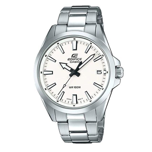 【CASIO 卡西歐】EDIFICE 日期顯示不鏽鋼錶帶腕錶-白x48mm(EFV-100D-7A)