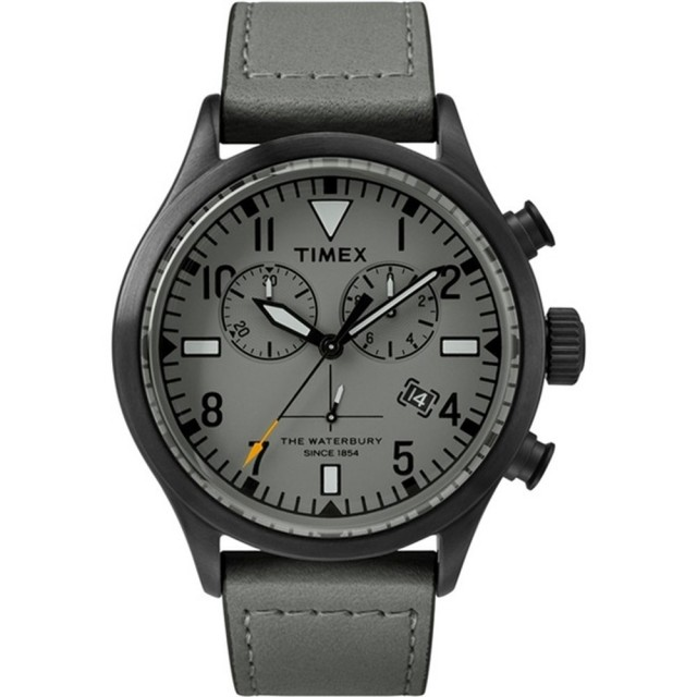 【TIMEX】X TODD SNYDER 刻劃時代計時皮帶腕錶-黑X灰(TW2R13200)