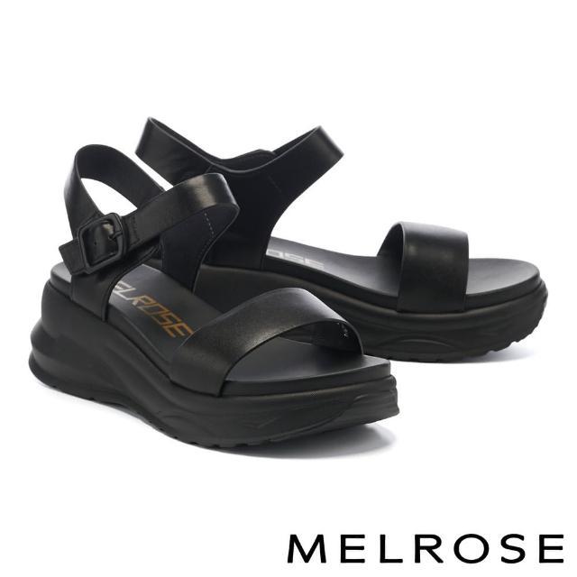 【MELROSE】極簡率性一字帶牛皮厚底涼鞋(黑)
