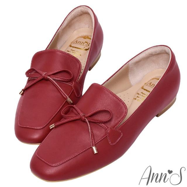 【Ann'S】散發小清新-蝴蝶結柔軟羊皮金釦平底紳士鞋(紅)