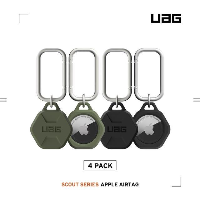 【UAG】AirTag 矽膠扣環保護套-黑綠(四入組)(UAG、AirTag)