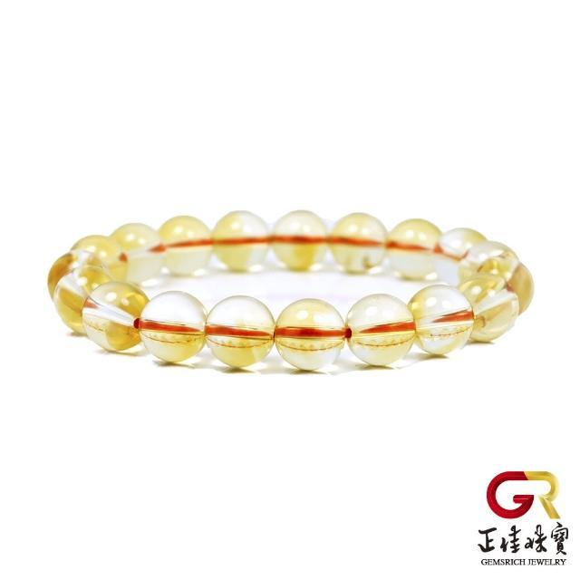【正佳珠寶】黃水晶 超淨體冰種黃水晶 10mm 黃水晶手珠 黃水晶手鍊|日本彈力繩(求財能量寶石)