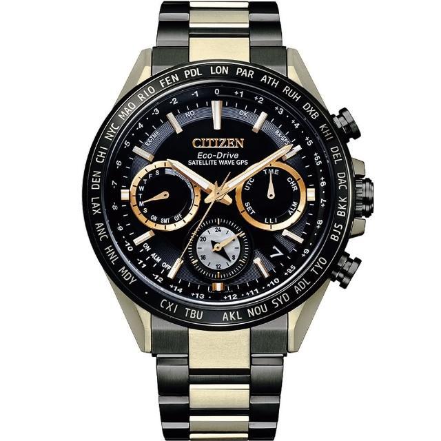 【CITIZEN 星辰】HAKUTO-R黑金鋼GPS私人月球黑白蝶貝月球限定黑金鋼超級鈦鋼帶錶42mm(CC4016-75E)