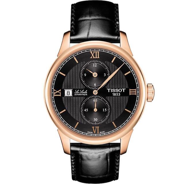 【TISSOT 天梭】天梭 LE LOCLE 力洛克雅仕機械腕錶-黑x玫瑰金框/40mm(T0064283605802)