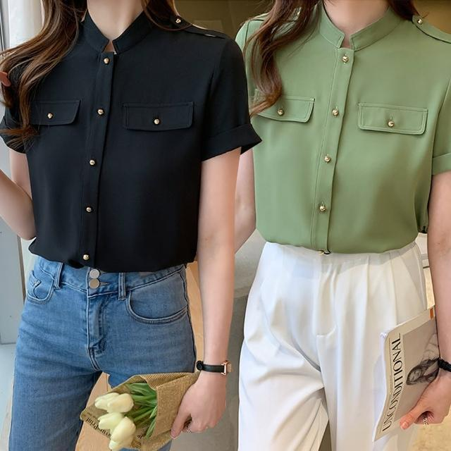 【Alishia】簡約設計感立領雪紡短袖襯衫 M-2XL(現+預 黑色 / 綠色)