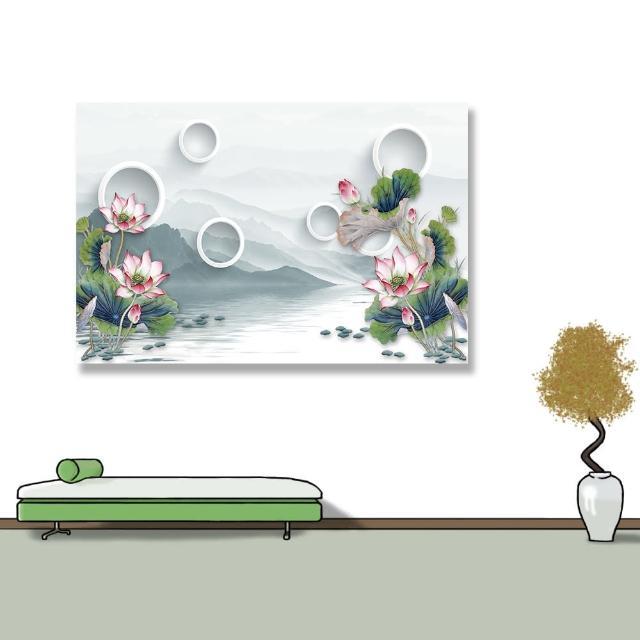 【24mama 掛畫】單聯式 油畫布 山丘 美麗花卉 湖泊 花苞 無框畫-60x40cm(白環睡蓮)