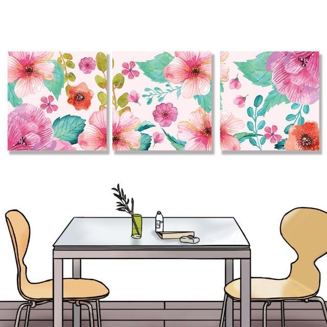 【24mama 掛畫】三聯式 油畫布 豐富多彩 漂亮花卉 藝術繪畫 插畫 植物 無框畫-30x30cm(粉色戀愛花)