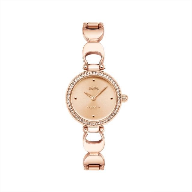 【COACH】玫瑰金色系晶鑽 時尚C字手鍊腕錶(CO14503172)