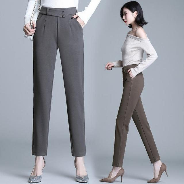 【白色戀人】都會OL後鬆緊腰質感西裝小腳褲S-3XL(共三色)