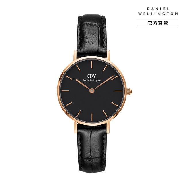【Daniel Wellington】官方直營 Petite Reading 28mm爵士黑壓紋真皮錶(DW手錶 DW00100223)