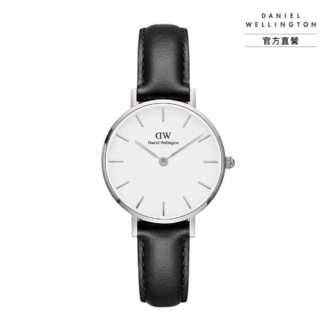 【Daniel Wellington】官方直營 Petite Sheffield 28mm爵士黑真皮皮革錶(DW手錶 DW00100242)