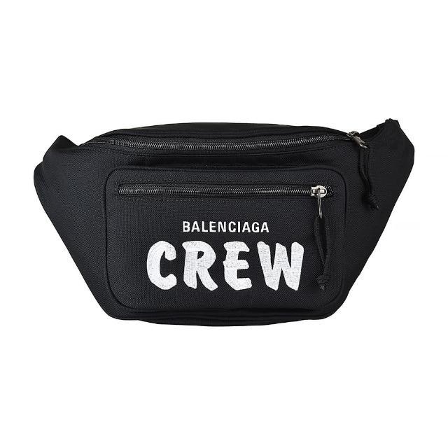 【Balenciaga 巴黎世家】BALENCIAGA 巴黎世家EXPLORER刺繡LOGO大字CREW尼龍拉鍊胸掛腰包(黑)