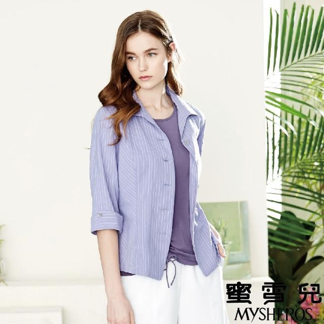 【MYSHEROS 蜜雪兒】棉質彈性直條襯衫上衣(紫)