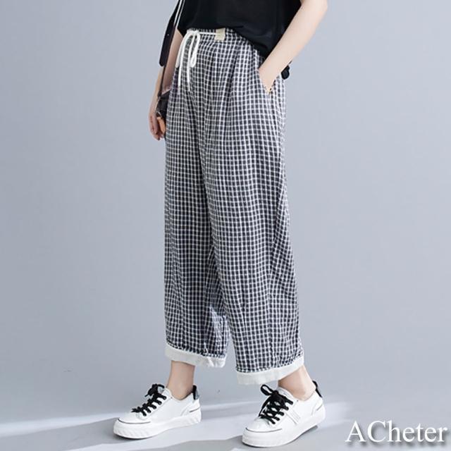 【ACheter】鬆緊腰抽繩棉麻格子九分寬褲#109980現貨+預購(格子)