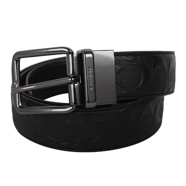 【COACH】寬版浮印LOGO皮革穿式皮帶(黑)