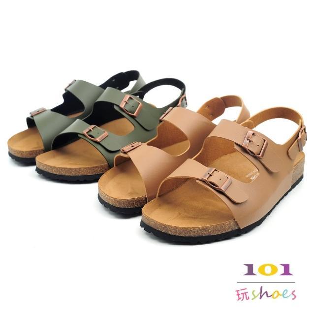【101 玩Shoes】mit.大尺碼經典雙帶扣環伯肯涼鞋(綠色/駱色.40-44號.中性男女同款)