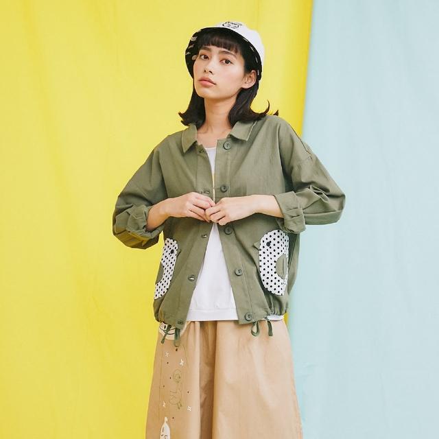 【Dailo】點點鳥口袋下擺抽繩工裝-女長袖外套 點點 藍 綠(二色/魅力商品/版型合身)
