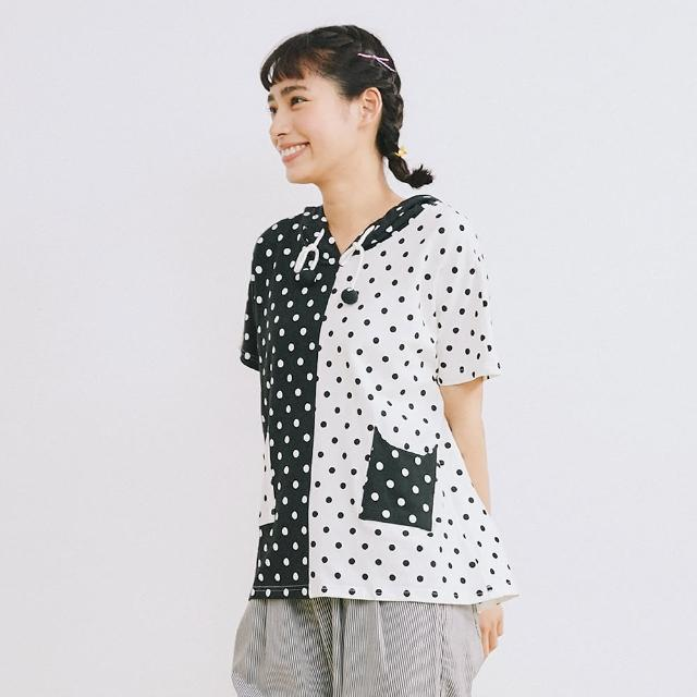 【Dailo】拼接點點貓臉棉T-女短袖上衣 拼接 黑(黑色/版型合身)