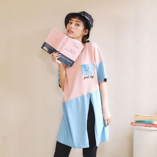 【Dailo】好心情開叉撞色長版-女短袖上衣 白 粉 綠(三色/版型合身)