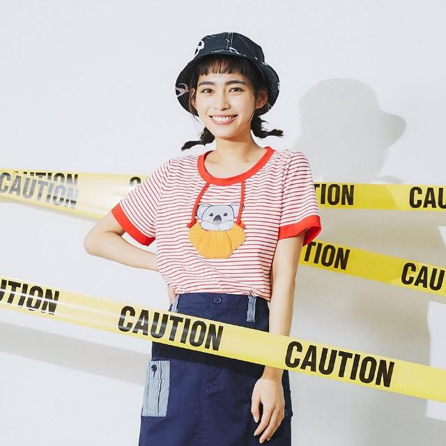 【Dailo】無尾熊牛角麵包盪鞦韆條紋-女短袖上衣 條紋 黑 紅(二色/版型合身)