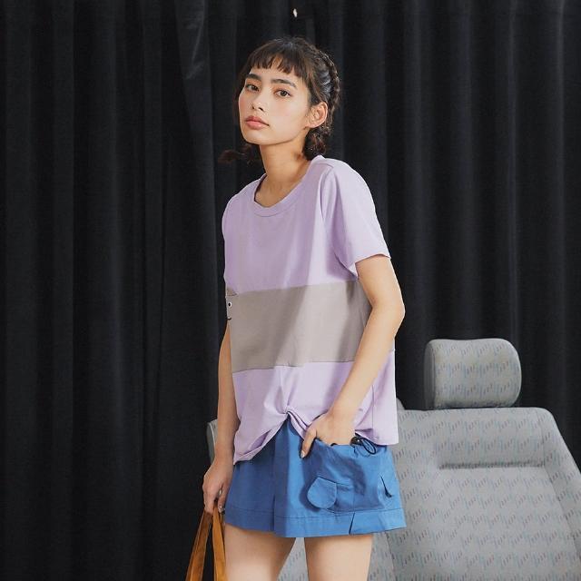 【Dailo】貓咪配色綁結扭轉造型-女短袖上衣 拼接 藍 白 紫(三色/版型合身)