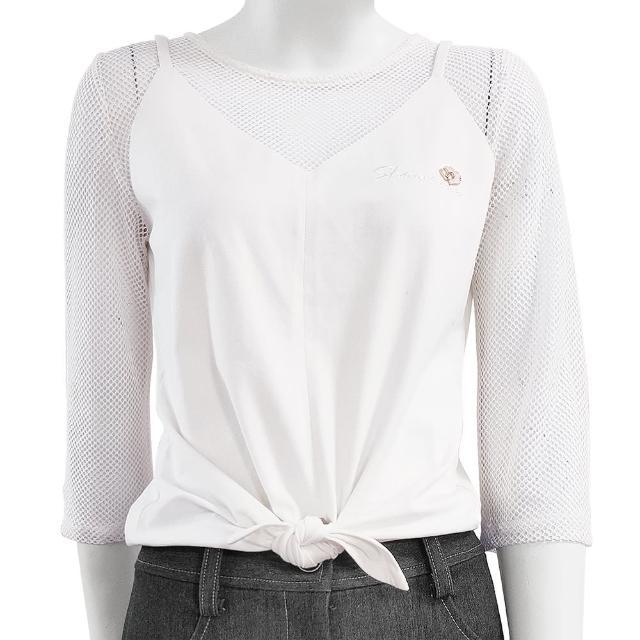 【SHOWCASE】甜美網布七分袖拼接棉質T恤(白色)