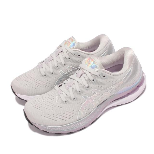 【asics 亞瑟士】慢跑鞋 GEL-Kayano 28 女鞋 亞瑟士 白金版 高支撐 旗艦 緩震 亞瑟膠 灰白(1012B133020)