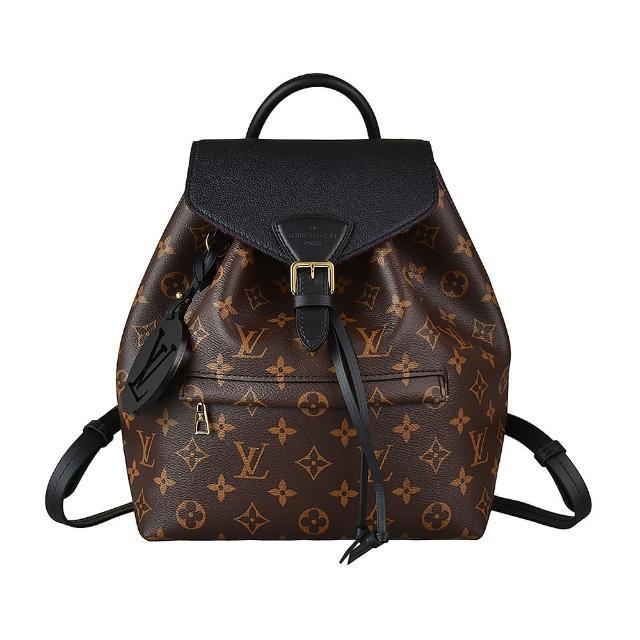 【Louis Vuitton 路易威登】LV M45515 MONTSOURIS PM花紋LOGO牛皮扣式束口後背包(咖啡x黑)