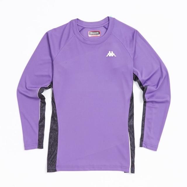 【KAPPA】義大利 舒適時尚女長袖排汗衫 粉紫 深灰麻花(304Q5D0-944)