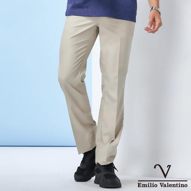 【Emilio Valentino 范倫鐵諾】男裝 經典百搭彈力素面平面休閒褲_卡其色(70-1A5713)