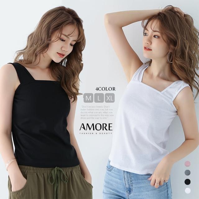【Amore】日系舒適無袖寬版背心上衣(簡約百搭上衣)