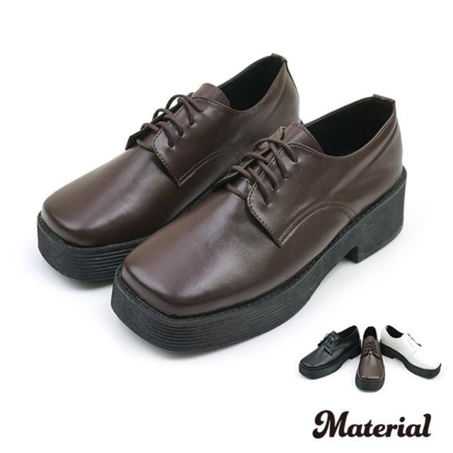 【MATERIAL】厚底鞋 方頭綁帶厚底鞋 MA女鞋 T4898(平底鞋)