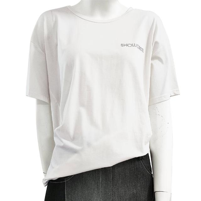 【SHOWCASE】圓領LOGO燙鑽素色短袖 寬版 棉質 T恤(白色)