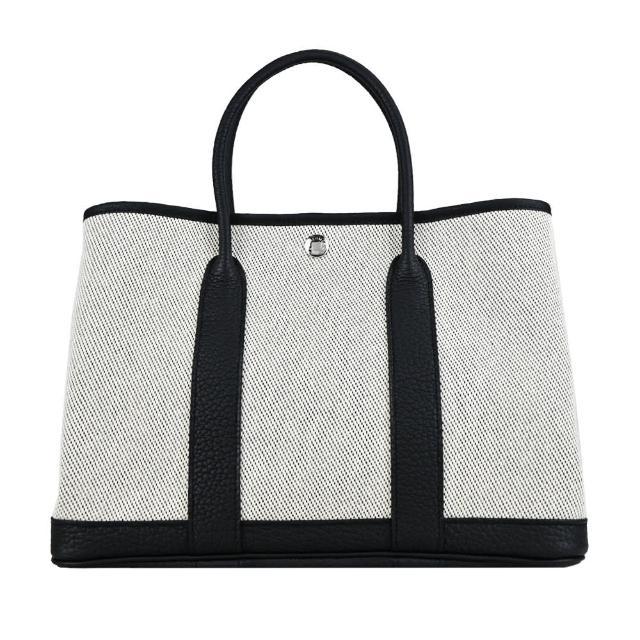 【Hermes 愛馬仕】Garden Party 30CM 皮革&帆布手提包(Z刻/AC 黑X米灰/銀釦)