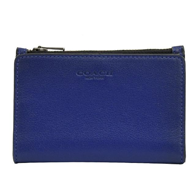 【COACH】經典烙印LOGO全皮革對折信用卡零錢夾(藍)