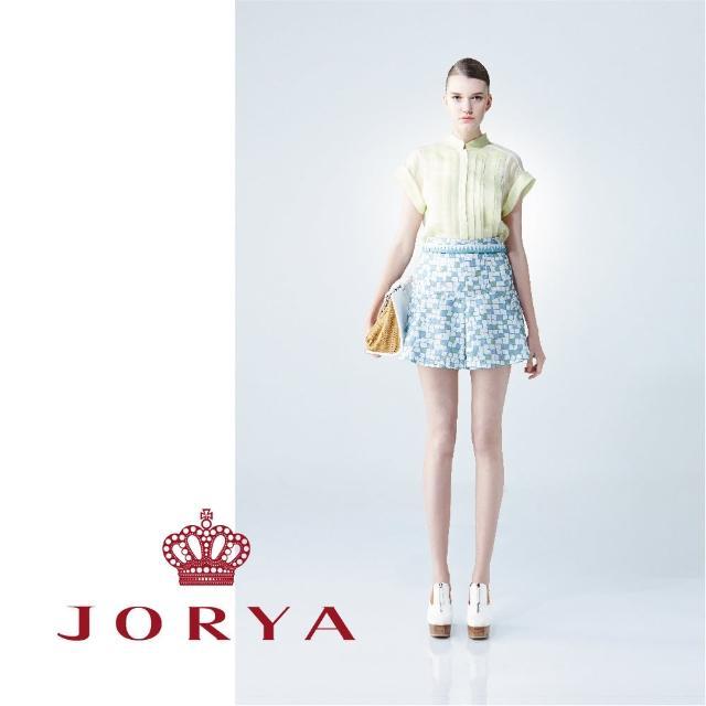 【JORYA】WeekendG2200902不規則小方格荷葉波浪短裙