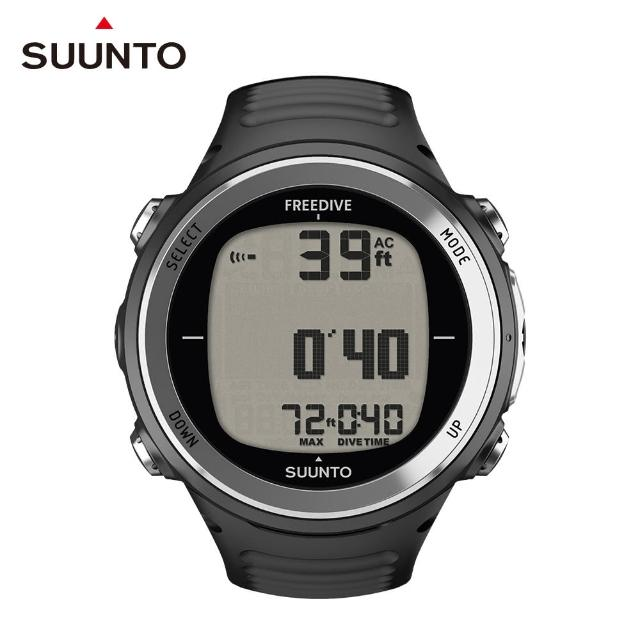 【SUUNTO】D4F 適合自由潛水、浮潛和魚叉獵魚的潛水電腦錶(經典黑)