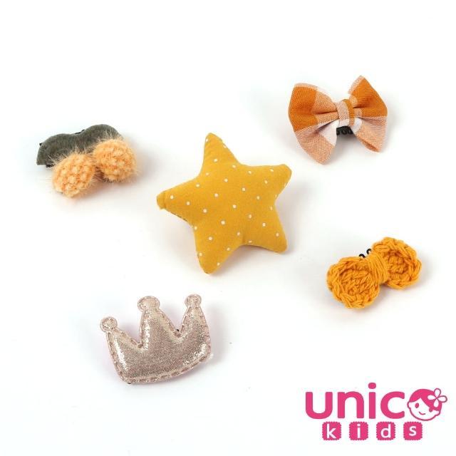 【UNICO】嬰兒少髮量寶寶俏皮黃皇冠蝴蝶結球球造型汗毛夾髮夾(髮飾/皇冠/球球/蝴蝶結/俏皮黃)