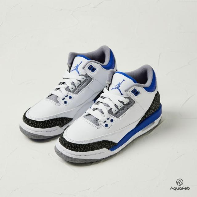 【NIKE 耐吉】運動鞋 Air Jordan 3 GS Racer Blue 大童 白藍 爆裂紋 小閃電 籃球鞋 398614-145(398614-145)