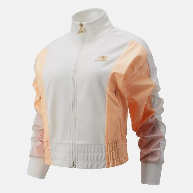 【NEW BALANCE】外套 女款 運動外套 慢跑 健身 白橘 WJ13501SST