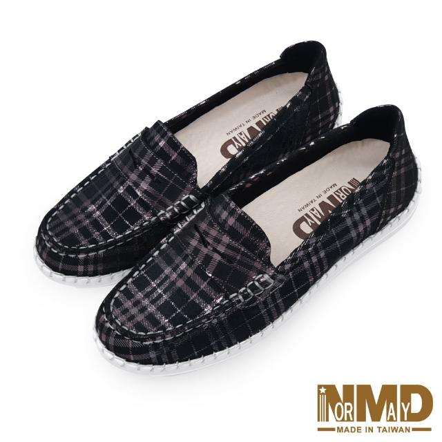 【Normady 諾曼地】女鞋 休閒鞋 懶人鞋 樂福鞋 MIT台灣製 真皮鞋 經典款柔霧面磁力厚底氣墊球囊鞋(黑格紋)