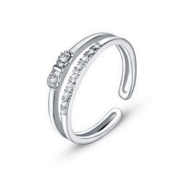 【米蘭精品】925純銀戒指鑲鑽銀飾(歐美風格蝴蝶結設計情人節生日禮物女飾品73dx6)