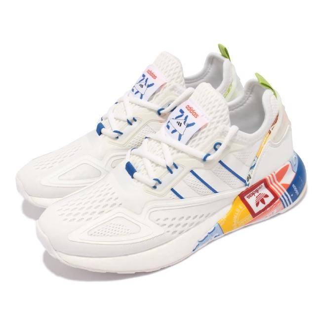 【adidas 愛迪達】休閒鞋 ZX 2K BOOST 運動 男女鞋 太空計畫設計靈感 襪套 避震 情侶款 白 彩(GX2718)