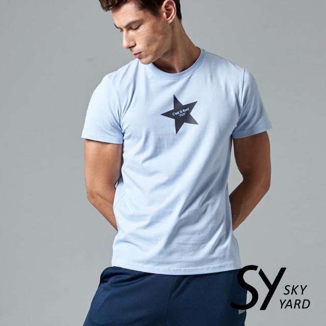 【SKY YARD】短袖圓領星星印花圓領T恤(淺藍)