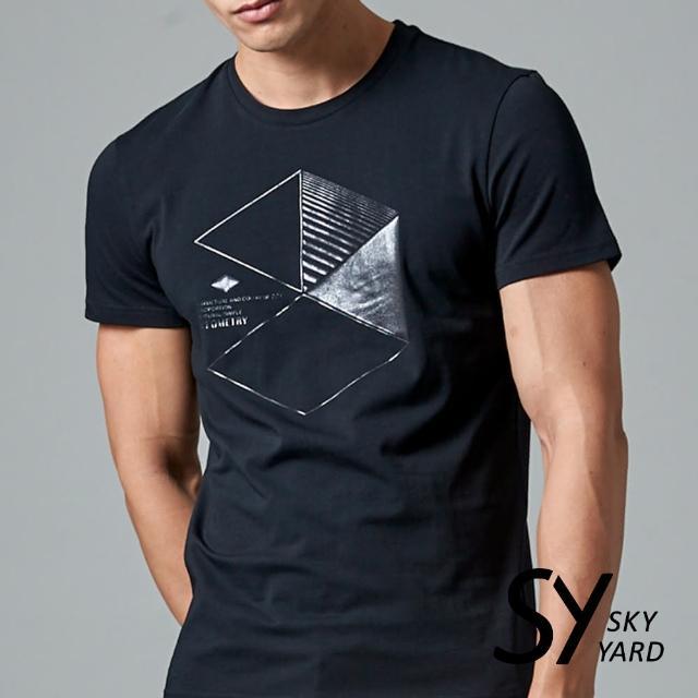 【SKY YARD】短袖圓領六角幾何印花圓領T恤(黑色)