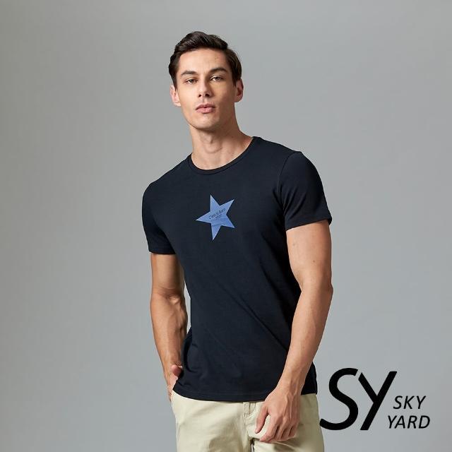【SKY YARD】短袖圓領星星印花圓領T恤(黑色)