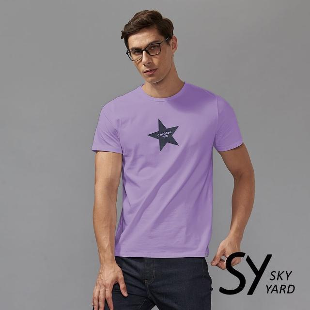 【SKY YARD】短袖圓領星星印花圓領T恤(紫色)