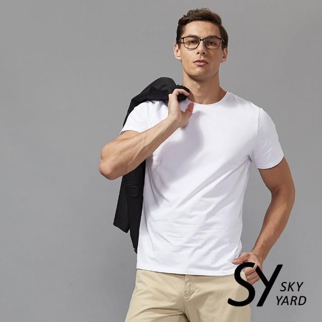 【SKY YARD】舒適好棉素面短袖圓領T恤(白色)